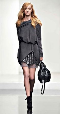 Ooooh a favorite. Delicious mono color-schemed layers with thin-knit belted cowl neck sweater over sequined tunic, over sheer slip. Autumn Winter Fashion, Winter Style, Fall Winter, Me Too Shoes, Dress Skirt, Style Me, Winter Outfits, Knitwear, Pantone