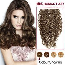 30 inches Ash Brown (#8) 7pcs Curly Clip In Indian Remy Hair Extensions