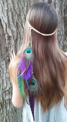 Feather Headband peacock feather headband Native by dieselboutique