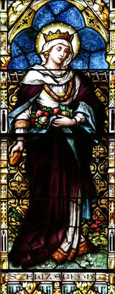 St Elizabeth of Hungary / Santa Isabel de Hungría // This stained glass window is in the Dahlgren chapel of the Sacred Heart in Georgetown University. // Photo: Lawrence OP
