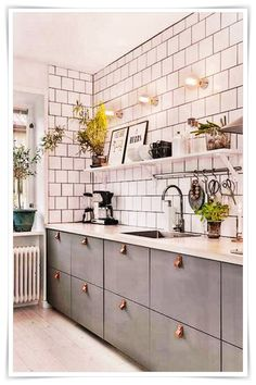 New Kitchen Shelves Metal Window Ideas Best Kitchen Sinks, New Kitchen, Kitchen Grey, Square Kitchen, Kitchen Interior, Kitchen Decor, Kitchen Tiles, Decorating Kitchen, Scandinavian Kitchen Backsplash