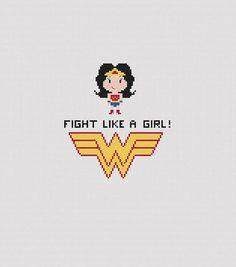 Wonder Woman Cross Stitch  Fight Like A Girl  Feminist