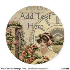 PARIS Sticker Vintage French Lady Flowers Custom