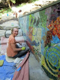 Outdoor mosaic installations, patio and poolside - BIGBANGMOSAICS