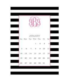 Free printable monogram calendar for January #printable #free #monogram