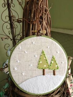 Linen Winter Scene Embroidery Hoop Christmas Ornament - Cute snowflake stars.
