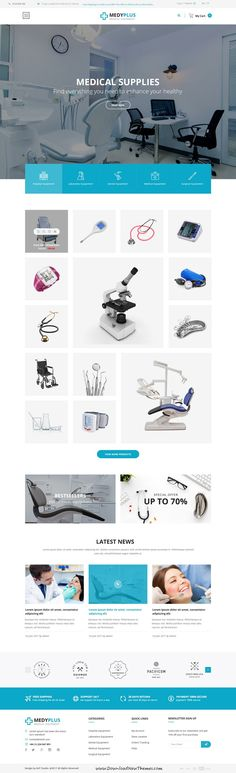 MedyPlus is clean and modern design PSD template for #medical #equipment #suppliers website with 7 homepage layouts and 24 layered PSD pages to live preview & download click on Visit