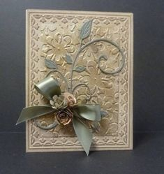 Stunning Embossed Card...with roses & bow...FC:WT404.