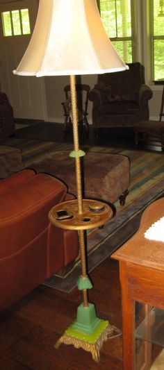Vintage jadeite/brass lamp smoking stand lamp purchased around 2000 in Hot Springs