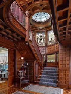 That staircase! // An authentically restored elegant Queen Anne Victorian mansion located in Plainfield New Jersey's Van Wyck Brooks Historic District and listed in the National Register of Historic Homes Victorian Interiors, Victorian Architecture, Beautiful Architecture, Victorian Homes, Interior Architecture, Victorian Era, Victorian Furniture, Victorian Library, Stairs Architecture