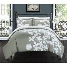 Chic Home Casa Blanca Grey Reversible 3-piece Duvet Cover Set | Overstock.com Shopping - The Best Deals on Duvet Covers