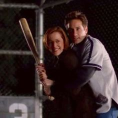 Mulder & Scully playing baseball. The Unnatural, Season 6 Ep 19, The X-Files.