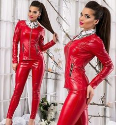 Leather Pants Outfit, Leather Jumpsuit, Vinyl Leggings, Leggings Are Not Pants, Leather And Lace, Red Leather, Leather Catsuit, Vinyl Clothing, Leder Outfits