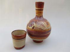 Vintage Mexican Handpainted Folk Art TONALA Pottery Water Bottle Jug Vase + Cup