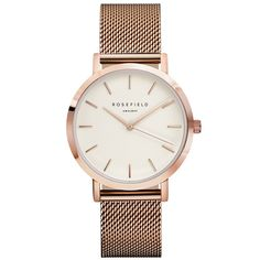 The Mercer watch by Rosefield in white/ rose gold. This watch, in a warm rose gold frame and mesh strap, suits the eggshell white facing Mesh Bracelet, Bracelet Watch, Mercer Watch, Mesh Armband, Branded Belts, Stainless Steel Mesh, Casual Watches, Elegant Watches, Luxury Watches For Men