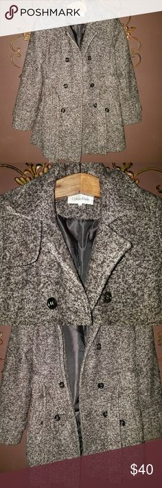 Calvin Klein Peacoat Calvin Klein Marled Brown Belted Peacoat size Small Excellent Condition Calvin Klein Jackets & Coats Pea Coats