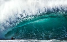 Picture of a body boarder riding a massive wave, Pipeline, Hawaii