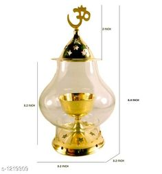 Festive Diyas & Candles Traditional Brass and Glass Diya Material: Brass & Glass Size: 6.4 in Description: It Has 1 Piece Of Diya  Sizes Available: Free Size   Catalog Rating: ★4.1 (12205)  Catalog Name: Traditional Brass and Glass Diyas Vol 1 CatalogID_153470 C128-SC1604 Code: 432-1219309-684