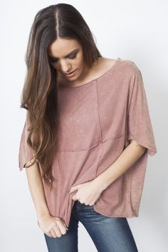 Nova Top - Vinnie Louise - Half sleeve, round neck, mineral washed, boxy knit top