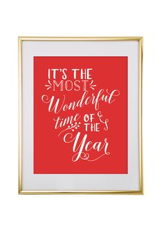Free Printable It's the Most Wonderful Time of the Year Art from - easy wall art diy Free Poster Printables, Free Printable Quotes, Floral Printables, Printable Wall Art, Printable Banner, Diy Christmas Decorations For Home, Christmas Wall Art, Christmas Poster, Christmas Crafts