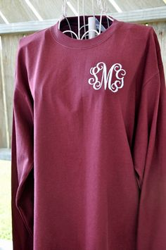 Monogrammed Long Sleeve T Shirt Personalized T-shirt by ChezWhimsy