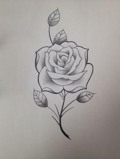 Rose Drawing Tattoo, 1 Tattoo, Tattoo Sketches, Tattoo Drawings, Rose Tattoos, Body Art Tattoos, Pencil Drawings Of Girls, Rose Drawings, Cute Flower Drawing