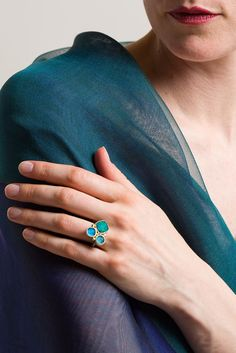 $1,100.00 | Maria Frantzi 18K, Apatite, Chrysocolla Doublet Ring | Brilliant, striking stones with unique shapes define Maria Frantzi's elegant yet whimsically vivid jewelry. Her jewelry is handmade in Greece and sold online and in-store at Santa Fe Dry Goods in Santa Fe, New Mexico.