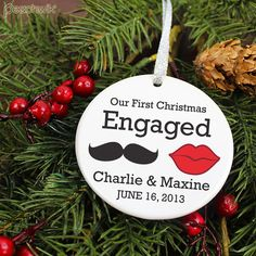 Our First Christmas Engaged Ornament  Red Lips and by peachwik, $17.95