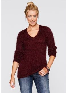 f34582efe03d4 Pull col V en maille duveteuse, bpc bonprix collection, rouge érable Pulls,  Sweatshirts