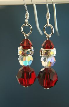 Christmas Crystal Earrings  Santa  Swarovski by HawkoonCreations, $13.00