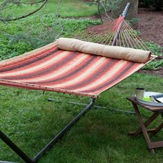 Island Bay Dura-Weave Quilted Double Hammock with Steel Stand - DP131