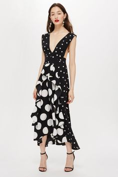 1ed571be7cdf Monochrome Spot Pinafore Dress - Dresses - Clothing