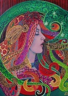 """""""Mezzo Goddess - We sing our dreams into being"""" - A print of the original acrylic painting by Emily Balivet, 2008 ...Zentangle Self Portrait Lesson?"""