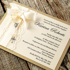 Baptism Invitations - Mini Rosary tied with a sweet bow