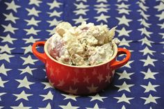 Red, White, and Blue Potato Salad perfect for your 4th of July picnic. Red potatoes, white sour cream, and blue cheese. Amazing.