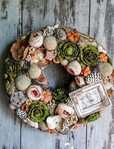 Moss Wreath, Succulent Wreath, Diy Wreath, Fall Wreaths, Easter Wreaths, Door Wreaths, Decor Crafts, Diy And Crafts, Deco Floral