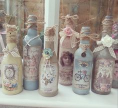 Painted shabby chic bottles