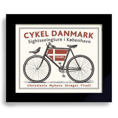 Dänische Decor, Art der Fahrrad-Kunst, Dänemark, Kopenhagen-Fahrrad-Kunst, Radfahren, Fahrrad-Enthusiasten, Danmark Fahne Biker, Kunst, Radfahrer Kunst