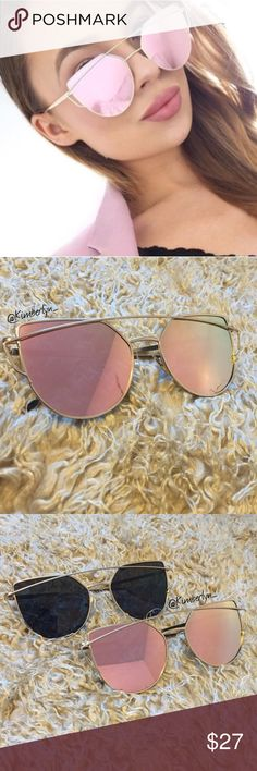 Rose Gold Cat Eye Mirrored Sunglasses Features a double bridge/cross-over brow bar, gold metal frame, & mirrored rose gold lenses. Made up of polycarbonate material & offers 100% UV400 protection. (Unbranded, case not included) Also available in black w/ a gold frame in a separate listing as well as the geometric pink & black frames (as seen in last photo). Price is firm unless bundled with another item in my closet. You will receive a % discount! #closetcrush Accessories Glasses