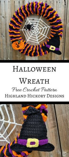 Halloween Wreath Crochet this Halloween Wreath with a spiders web spider witch hat and jack o lantern details all in vibrant holiday colors! Source by cutediyprojects Crochet Wreath, Crochet Fall, Holiday Crochet, Crochet Home, Crochet Crafts, Easy Crochet, Crochet Projects, Free Crochet, Crochet Flowers