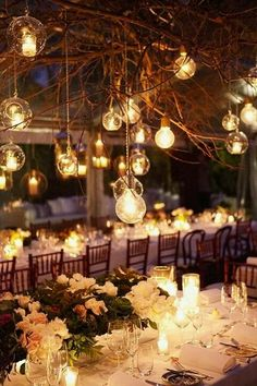 Lovely idea.. hanging light bulbs for wedding reception