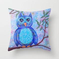 Owl  Throw Pillow by HeartsandKeys - $20.00