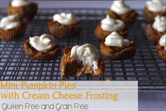 Mini Pumpkin Pies with Cream Cheese Frosting, gluten free and grain free. No refined sugar Gluten Free Pumpkin Pie, Gluten Free Desserts, Pumpkin Recipes, Pie Recipes, Fall Recipes, Thanksgiving Recipes, Mini Pumpkin Pies, Pumpkin Pancakes, Yummy Treats