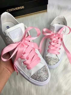 Bling Swarovski Crystal CONVERSE Bling Women s Wedding crystal White  sneakers With Pink Satin Ribbon Laces 1d940aa57e90