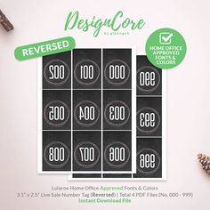 Lularoe Facebook Live Sale Reversed Mirrored Number Tag, 000 - 999, Home Office Approved, Simple Chalkboard, Instant Download, DCLST008