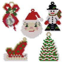 Christmas Icon Collection by Charlotte Holley – Beaded Legends Beading Patterns … - Christmas Jewelry Beaded Christmas Ornaments, Christmas Jewelry, Christmas Crafts, Christmas Earrings, Beading Projects, Beading Tutorials, Beaded Jewelry Patterns, Beading Patterns, Beaded Banners