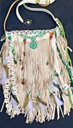 Handmade Pearl Cream Shimmering Soft Leather Fringe Bag OOAK Boho Purse B.Joy | eBay