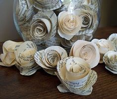 DIY Vintage paper flower tutorial...SO easy to make and love the ideas of putting them in apothecary jars! vintage books, vintage paper, paper roses, book pages, paper flowers, flower tutorial, paper crafts, vintage flowers, old books