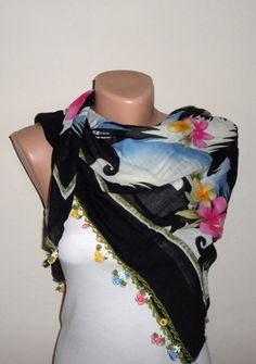 black scarf floral print scarf multicolor cotton scarf turkish