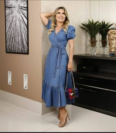 Jeans Dress, Shirt Dress, Denim Dresses, Look Fashion, Womens Fashion, Chambray, Couture Fashion, Frocks, Indigo